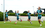 SOUTHAMPTON, ENGLAND - JULY 01: LtoR Wesley Hoedt, Harrison Reed, Jordy Clasie, Sam Gallagher during pre season testing pictured at Staplewood Complex on July 01, 2019 in Southampton, England. (Photo by James Bridle - Southampton FC/Southampton FC via Getty Images)