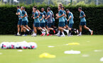 SOUTHAMPTON, ENGLAND - JULY 03: Players warm up during a Southampton FC pre-season training session at the Staplewood Campus on July 03, 2019 in Southampton, England. (Photo by Matt Watson/Southampton FC via Getty Images)