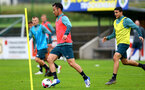 SCHRUNS, AUSTRIA - JULY 08: Maya Yoshida(L) during a Southampton FC pre season training session, on July 08, 2019 in Schruns, Austria. (Photo by Matt Watson/Southampton FC via Getty Images)