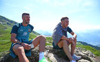 SCHRUNS, AUSTRIA - JULY 10: Fraser Forster(L) and Jake Vokins during a pre season team walk on July 10, 2019 in Schruns, Austria. (Photo by Matt Watson/Southampton FC via Getty Images)
