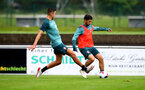 SCHRUNS, AUSTRIA - JULY 12: Shane Long(R) during a Southampton FC pre season training session on July 12, 2019 in Schruns, Austria. (Photo by Matt Watson/Southampton FC via Getty Images)