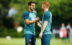 SOUTHAMPTON, ENGLAND - JULY 16: LtoR Cedric Soares, Harrison Reed during a Southampton FC  training session at Staplewood Complex on July 16, 2019 in Southampton, England. (Photo by James Bridle - Southampton FC/Southampton FC via Getty Images)