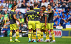 PRESTON, ENGLAND - JULY 20: Team celebrate after Danny Ings scores and celebrates (right) during the pre-season friendly game between Preston North End and Southampton FC pictured at Deepdale on July 20, 2019 in Preston, England. (Photo by James Bridle - Southampton FC/Southampton FC via Getty Images)
