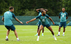 DUBLIN, ENGLAND - JULY 24: LtoR Danny Ings, Nathan Redmond during a Southampton FC training session pictured at Carton House Spa and Resort for Pre-Season Training on July 24, 2019 in Southampton, England. (Photo by James Bridle - Southampton FC/Southampton FC via Getty Images)