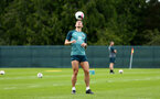 DUBLIN, ENGLAND - JULY 24: Pierre-Emile Hojbjerg balances a ball on his head during a Southampton FC training session pictured at Carton House Spa and Resort for Pre-Season Training on July 24, 2019 in Southampton, England. (Photo by James Bridle - Southampton FC/Southampton FC via Getty Images)