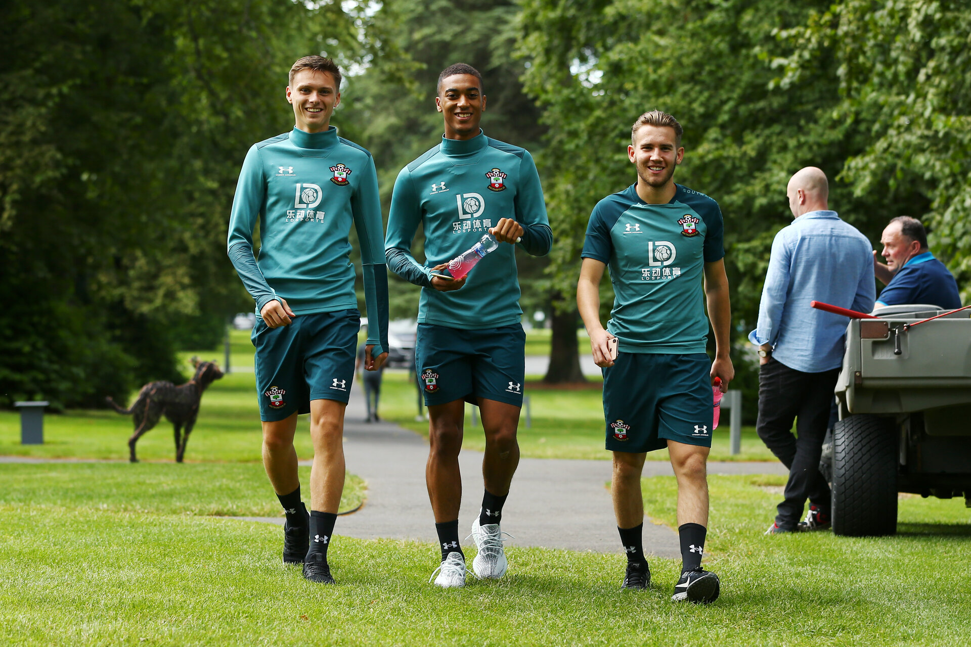 DUBLIN, ENGLAND - JULY 25: LtoR Will Smallbone, Yan Valery, Jake Vokins during a Southampton FC recovery gym session pictured at Carton House Spa and Resort for Pre-Season Training on July 25, 2019 in Southampton, England. (Photo by James Bridle - Southampton FC/Southampton FC via Getty Images)