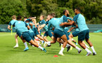 DUBLIN, ENGLAND - JULY 27: Players take part in warm up exercises during a Southampton FC Training session pictured at Carton House Spa and Resort for Pre-Season Training on July 27, 2019 in Southampton, England. (Photo by James Bridle - Southampton FC/Southampton FC via Getty Images)