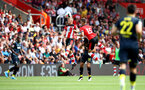 SOUTHAMPTON, ENGLAND - AUGUST 03: James Ward-Prowse of Southampton wins a header during the Pre-Season Friendly match between Southampton FC and FC Köln at St. Mary's Stadium on August 03, 2019 in Southampton, England. (Photo by Matt Watson/Southampton FC via Getty Images,)