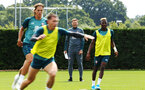 SOUTHAMPTON, ENGLAND - AUGUST 08: Ralph Hasenhuttl (middle) during a first team training session pictured at Staplewood Training Ground on August 06, 2019 in Southampton, England. (Photo by James Bridle - Southampton FC/Southampton FC via Getty Images)