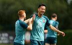 SOUTHAMPTON, ENGLAND - AUGUST 08: LtoR Harry Reed, Maya Yoshida during a first team training session pictured at Staplewood Training Ground on August 06, 2019 in Southampton, England. (Photo by James Bridle - Southampton FC/Southampton FC via Getty Images)