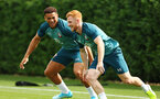 SOUTHAMPTON, ENGLAND - AUGUST 08: LtoR Che Adams, Harry Reed during a first team training session pictured at Staplewood Training Ground on August 06, 2019 in Southampton, England. (Photo by James Bridle - Southampton FC/Southampton FC via Getty Images)