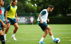 SOUTHAMPTON, ENGLAND - AUGUST 07: Danny Ings (right) during a Southampton FC training session pictured at Staplewood Training Ground on August 07, 2019 in Southampton, England. (Photo by James Bridle - Southampton FC/Southampton FC via Getty Images)