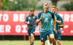 SOUTHAMPTON, ENGLAND - AUGUST 08: James Ward-Prowse (right) during a Southampton FC Training Session pictured at Staplewood Training Ground on August 08, 2019 in Southampton, England. (Photo by James Bridle - Southampton FC/Southampton FC via Getty Images)