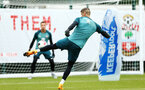 SOUTHAMPTON, ENGLAND - AUGUST 08: Fraser Forster  (right) hits the ball towards Harry Lewis in goal during a Southampton FC Training Session pictured at Staplewood Training Ground on August 08, 2019 in Southampton, England. (Photo by James Bridle - Southampton FC/Southampton FC via Getty Images)