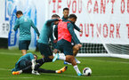 SOUTHAMPTON, ENGLAND - AUGUST 14: Che Adams strike the ball (right) during a Southampton FC Training session pictured on August 14, 2019 in Southampton, England. (Photo by James Bridle - Southampton FC/Southampton FC via Getty Images)
