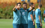 SOUTHAMPTON, ENGLAND - AUGUST 15: LtoR Mohamed Elyounoussi, Sofiane Boufal during a Southampton FC Training session pictured on August 15, 2019 in Southampton, England. (Photo by James Bridle - Southampton FC/Southampton FC via Getty Images)