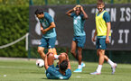 SOUTHAMPTON, ENGLAND - AUGUST 15: Sofiane Boufal  falls over during a strike for a Southampton FC Training session pictured on August 15, 2019 in Southampton, England. (Photo by James Bridle - Southampton FC/Southampton FC via Getty Images)