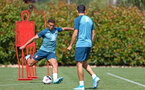 SOUTHAMPTON, ENGLAND - AUGUST 15: Che Adams strikes the ball (left) during a Southampton FC Training session pictured on August 15, 2019 in Southampton, England. (Photo by James Bridle - Southampton FC/Southampton FC via Getty Images)