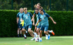 SOUTHAMPTON, ENGLAND - AUGUST 15: LtoR Stuart Armstrong takes on Sofiane Boufal, Jannik Vestergaard and Cedric Soares during a Southampton FC Training session pictured on August 15, 2019 in Southampton, England. (Photo by James Bridle - Southampton FC/Southampton FC via Getty Images)