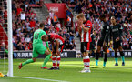 SOUTHAMPTON, ENGLAND - AUGUST 17: Southampton players dejected during the Premier League match between Southampton FC and Liverpool FC at St Mary's Stadium on August 17, 2019 in Southampton, United Kingdom. (Photo by Matt Watson/Southampton FC via Getty Images)