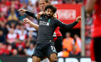 SOUTHAMPTON, ENGLAND - AUGUST 17: Jannik Vestergaard(behind) of Southampton and Mohamed Salah of Liverpool during the Premier League match between Southampton FC and Liverpool FC at St Mary's Stadium on August 17, 2019 in Southampton, United Kingdom. (Photo by Matt Watson/Southampton FC via Getty Images)