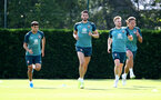 SOUTHAMPTON, ENGLAND - AUGUST 22: L to R Mohamed Elyounoussi, Wesley Hoedt, Stuart Armstrong and Jannik Vestergaard during a Southampton FC training session at the Staplewood Campus on August 22, 2019 in Southampton, England. (Photo by Matt Watson/Southampton FC via Getty Images)