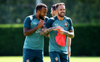 SOUTHAMPTON, ENGLAND - AUGUST 22: Nathan Redmond(L) Danny Ings during a Southampton FC training session at the Staplewood Campus on August 22, 2019 in Southampton, England. (Photo by Matt Watson/Southampton FC via Getty Images)