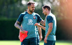 SOUTHAMPTON, ENGLAND - AUGUST 22: Danny Ings(L) and Cedric Soares during a Southampton FC training session at the Staplewood Campus on August 22, 2019 in Southampton, England. (Photo by Matt Watson/Southampton FC via Getty Images)