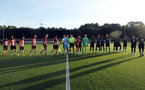 Handshakes before the kick off. Southampton U23s v Liverpool U23s, Staplewood Campus, Marchwood, Southampton            Picture: Chris Moorhouse       Monday 26th August 2019