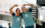 SOUTHAMPTON, ENGLAND, AUGUST 28, Cedric Soares(L) and Pierre-Emile Hojbjerg during a Southampton FC training session at the Staplewood Campus, Southampton