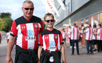 SOUTHAMPTON, ENGLAND - AUGUST 31: Saints fans before the Premier League match between Southampton FC and Manchester United at St Mary's Stadium on August 31, 2019 in Southampton, United Kingdom. (Photo by Chris Moorhouse/Southampton FC via Getty Images)