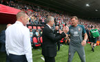 SOUTHAMPTON, ENGLAND - AUGUST 31: Ole Gunnar Solskjaer, left, and Ralph Hasenhüttl during the Premier League match between Southampton FC and Manchester United at St Mary's Stadium on August 31, 2019 in Southampton, United Kingdom. (Photo by Chris Moorhouse/Southampton FC via Getty Images)
