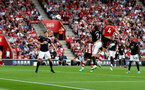 SOUTHAMPTON, ENGLAND - AUGUST 31: Jannik Vestergaard(4) of Southampton scores with his head to make it 1-1 during the Premier League match between Southampton FC and Manchester United at St Mary's Stadium on August 31, 2019 in Southampton, United Kingdom. (Photo by Matt Watson/Southampton FC via Getty Images)
