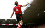 SOUTHAMPTON, ENGLAND - AUGUST 31: Jannik Vestergaard of Southampton celebrates during the Premier League match between Southampton FC and Manchester United at St Mary's Stadium on August 31, 2019 in Southampton, United Kingdom. (Photo by Matt Watson/Southampton FC via Getty Images)