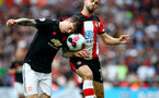 SOUTHAMPTON, ENGLAND - AUGUST 31: Victor Lindelof(L) of Manchester United and Shane Long(R) of Southampton during the Premier League match between Southampton FC and Manchester United at St Mary's Stadium on August 31, 2019 in Southampton, United Kingdom. (Photo by Matt Watson/Southampton FC via Getty Images)