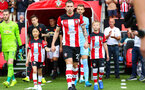 31st August 2019, St Marys Stadium, Saints against Manchester United, Pierre-Emile Hojberg walking out with mascots