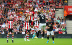 31st August 2019, St Marys Stadium, Saints against Manchester United, Che Adams attacking header