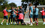 SOUTHAMPTON, ENGLAND - SEPTEMBER 05: Players celebrate during a Southampton FC training session at the Staplewood Campus on September 05, 2019 in Southampton, England. (Photo by Matt Watson/Southampton FC via Getty Images)