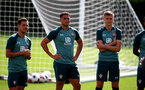 SOUTHAMPTON, ENGLAND - SEPTEMBER 05: L to R Cedric Soares, Ché Adams and Will Smallbone during a Southampton FC training session at the Staplewood Campus on September 05, 2019 in Southampton, England. (Photo by Matt Watson/Southampton FC via Getty Images)