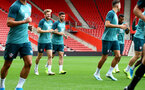 SOUTHAMPTON, ENGLAND - SEPTEMBER 12: Stuart Armstrong(L) and Shane Long during a Southampton FC training session at St Mary's stadium on September 12, 2019 in Southampton, England. (Photo by Matt Watson/Southampton FC via Getty Images)