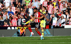 SHEFFIELD, ENGLAND - SEPTEMBER 14: Lys Mousset(L) of Sheffied United and Jan Bednarek(R) of Southampton during the Premier League match between Sheffield United and Southampton FC at Bramall Lane on September 14, 2019 in Sheffield, United Kingdom. (Photo by Matt Watson/Southampton FC via Getty Images)