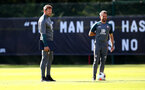 SOUTHAMPTON, ENGLAND - SEPTEMBER 19: Ralph Hasenhuttl(L) and Richard Kitzbichler during a Southampton FC training session at the Staplewood Campus on September 19, 2019 in Southampton, England. (Photo by Matt Watson/Southampton FC via Getty Images)