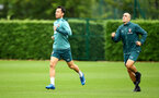 SOUTHAMPTON, ENGLAND - SEPTEMBER 22: Maya Yoshida(L) and Oriol Romeu during a training session at the Staplewood Campus on September 22, 2019 in Southampton, England. (Photo by Matt Watson/Southampton FC via Getty Images)