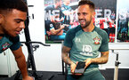 SOUTHAMPTON, ENGLAND - SEPTEMBER 25: Ché Adams(L) and Danny Ings during a Southampton FC training/recovery session at Staplewood Complex on September 25, 2019 in Southampton, England. (Photo by Matt Watson/Southampton FC via Getty Images)