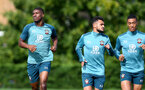 SOUTHAMPTON, ENGLAND - SEPTEMBER 26: Kevin Danso(L), Sofiane Boufal and Yan Valery(R) during a Southampton FC training session at the Staplewood Campus on September 26, 2019 in Southampton, England. (Photo by Matt Watson/Southampton FC via Getty Images)