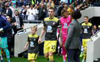 LONDON, ENGLAND - SEPTEMBER 28: Pierre-Emile Hojbjerg of Southampton leads the teams out with the match day mascot during the Premier League match between Tottenham Hotspur and Southampton FC at Tottenham Hotspur Stadium on September 28, 2019 in London, United Kingdom. (Photo by Matt Watson/Southampton FC via Getty Images)