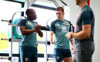 SOUTHAMPTON, UK, OCTOBER 02: Pierre-Emile Hojbjerg(R) and Michael Obafemi(L) during a Southampton FC gym session at the Staplewood Campus, Southampton, UK, 2nd October 2019, (pic by Matt Watson/Southampton FC via Getty Images)