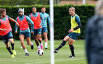 SOUTHAMPTON, ENGLAND - OCTOBER 03: Oriol Romeu(R) during a Southampton FC training session at the Staplewood Campus on October 03, 2019 in Southampton, England. (Photo by Matt Watson/Southampton FC via Getty Images)