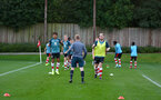 warm up during Premier League Cup between Southampton FC U23 and Stoke City at Staplewood Campus, Southampton 5th October 2019 (pic by Isabelle Field)