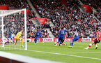 SOUTHAMPTON, ENGLAND - OCTOBER 06: Danny Ings(obscure) of Southampton scores to make it 1-1 during the Premier League match between Southampton FC and Chelsea FC at St Mary's Stadium on October 06, 2019 in Southampton, United Kingdom. (Photo by Matt Watson/Southampton FC via Getty Images)